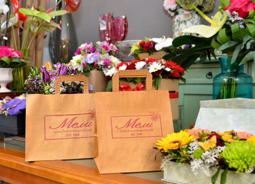 17L & 12L flower bags at Meli Flowershop, downtown Skopje.